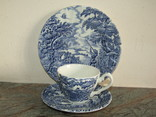 Чайное трио чашка блюдце тарелка Охота клеймо Myott Meakin Англия