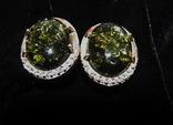 Серьги, серебро, позолота, зеленый янтарь, фианиты, фото №2