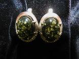 Серьги, серебро, позолота, зеленый янтарь, фианиты, фото №7