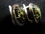 Серьги, серебро, позолота, зеленый янтарь, фианиты, фото №11