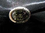 Серьги, серебро, позолота, зеленый янтарь, фианиты, фото №13