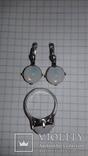 Серьги и кольцо с лунным камнем, фото №5