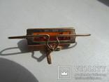 Запонки с зажимом для галстука золото 583 проба янтарь СССР 17.2 гр, фото №7
