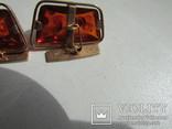 Запонки с зажимом для галстука золото 583 проба янтарь СССР 17.2 гр, фото №8