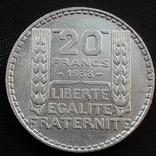20 франков, Франция, 1938 год, серебро, 680-я проба, 20 грамм