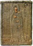 Антоний Печерский. Икона шитая серебряной нитью 13*18см