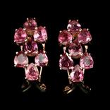 Серьги с натуральными розовыми турмалинами, фото №2