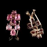 Серьги с натуральными розовыми турмалинами, фото №3