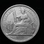 1 пиастр, Французский Индокитай, 1899 год, серебро 900-й пробы, 27 грамм