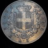 5 лир, Италия, 1875 год, R (редкий), серебро 900-й пробы 25 грамм photo 2