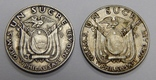 2 монеты по 1 сукре, Эквадор, 1930/34 г.г. photo 1