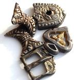 Серебряные элементы пояса с позолотой