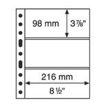 Лист к альбому Leuchtturm, Grande 2x3 полос 216 х 98 мм, черный 3S. 305160