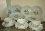 Сервиз на 6-ть персон чашки блюдца тарелки фарфор Райские птицы номерной Германия