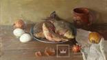 ''Натюрморт с рыбой''. 51х77 см Жданова Виктория, фото №2