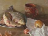 ''Натюрморт с рыбой''. 51х77 см Жданова Виктория, фото №5
