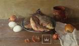 ''Натюрморт с рыбой''. 51х77 см Жданова Виктория, фото №6