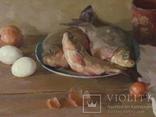 ''Натюрморт с рыбой''. 51х77 см Жданова Виктория, фото №9