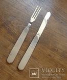Винтажный набор туриста, нож и вилка складные. Европа. Клеймо., фото №2