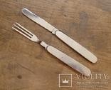 Винтажный набор туриста, нож и вилка складные. Европа. Клеймо., фото №3