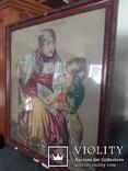 Гобелен Германия конец 19 го века Бабушка с внуком, фото №2