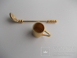 Коллекционная миниатюра Клюшка и кружка.Золочение Германия., фото №3