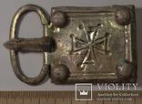 Большая пряжка с крестом.Готы.Серебро.8,2 см на 5 см. photo 1