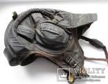 Утепленный зимний трех реберный танковый шлем кожзам., фото №3