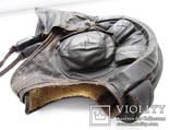Утепленный зимний трех реберный танковый шлем кожзам., фото №4