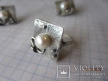 Жемчуг белый, серебро 925, комплект кольцо и серьги,, фото №6