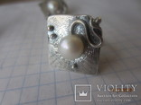 Жемчуг белый, серебро 925, комплект кольцо и серьги,, фото №7
