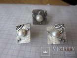 Жемчуг белый, серебро 925, комплект кольцо и серьги,, фото №8