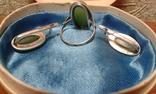 Комплект серебро 875 проба  звезда Нефрит ., фото №3