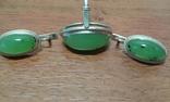 Комплект серебро 875 проба  звезда Нефрит ., фото №4