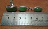 Комплект серебро 875 проба  звезда Нефрит ., фото №5