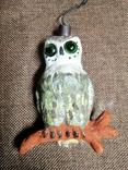 Сова филин папье-маше игрушка елочная photo 2