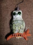 Сова филин папье-маше игрушка елочная photo 3
