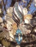 Фирменный кулон, серебро, камни., фото №2