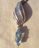 Фирменный кулон, серебро, камни., фото №5
