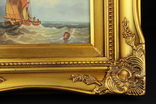 Морской пейзаж в красивой раме. Масло. 315х265 мм. Европа. photo 5