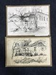 Рисунки тушью, сельские пейзажи, размеры 42х27 см и 43х29 см