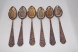Набор 6 чайных ложек серебро 916 проба, эмаль СССР. Вес 135 грамм photo 1