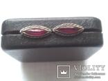 Серьги из серебра с тёмно-розовым камнем времен СССР, фото №2
