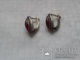 Серьги из серебра с тёмно-розовым камнем времен СССР, фото №6