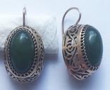Серьги с зелеными камнями, золото 583 проба photo 2