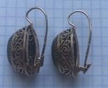 Серьги с зелеными камнями, золото 583 проба photo 7