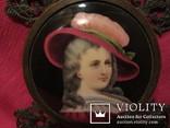 """164. Портретная миниатюра """"Девушка в шляпе"""", живопись на фарфоре, позолота, XIX век photo 10"""