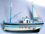 Модель рыболовецкого судна Моторный Баркас Шхуна Дерево Ручная сборка., фото №2