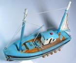 Модель рыболовецкого судна Моторный Баркас Шхуна Дерево Ручная сборка., фото №6