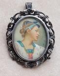 Старая серебряная брошь-подвеска портретная миниатюра